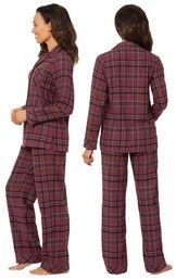 Burgundy Plaid Boyfriend Flannel Pajamas image number 1