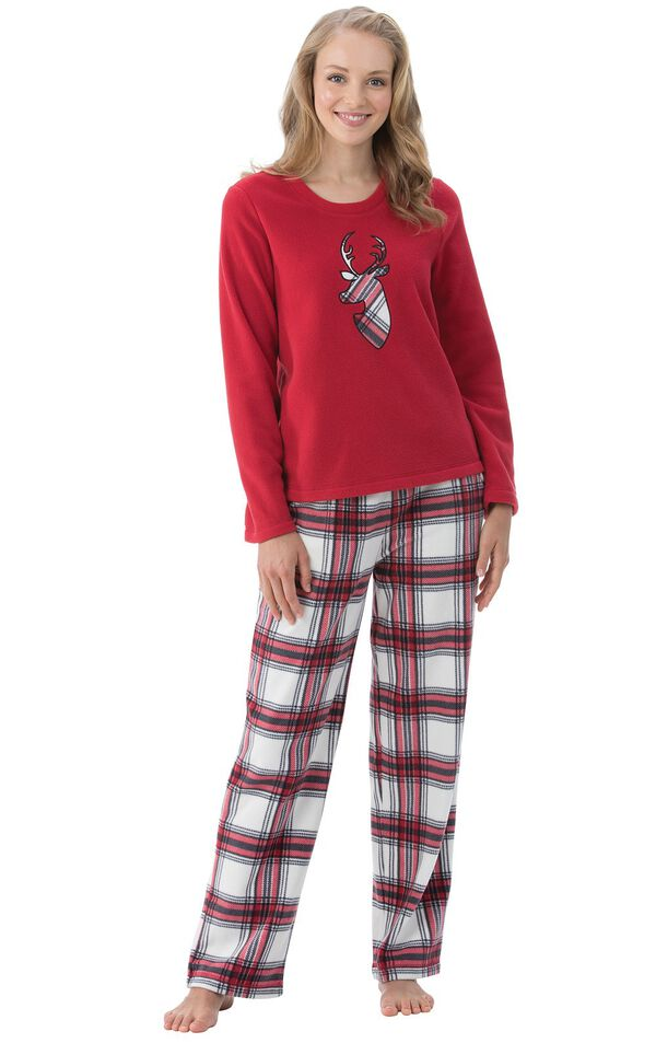 Model wearing Red and White Plaid Fleece PJ for Women image number 0
