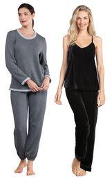 Models wearing World's Softest Jogger Pajamas - Charcoal and Velour Cami Pajamas - Black.