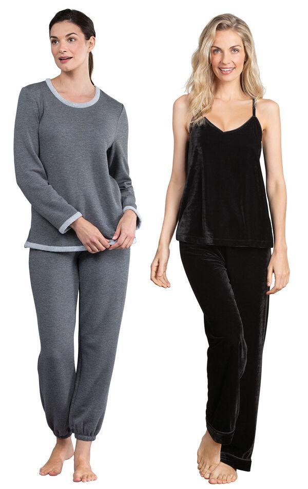 Models wearing World's Softest Jogger Pajamas - Charcoal and Velour Cami Pajamas - Black. image number 0