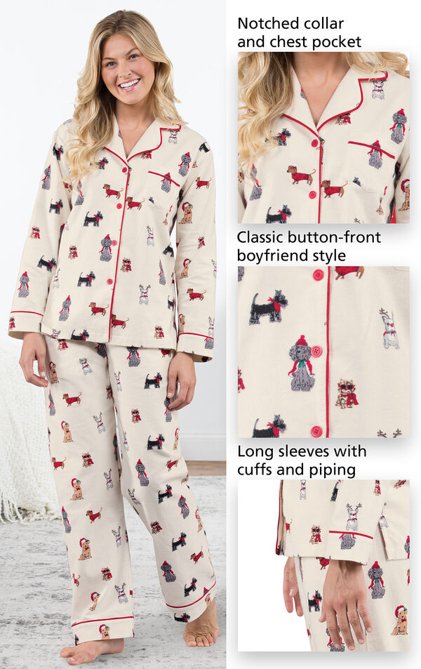 Christmas Dogs Flannel Boyfriend Pajamas feature a notched collar and chest pocket, classic button-front boyfriend style and long sleeves with cuffs and red piping - all shown in images image number 4