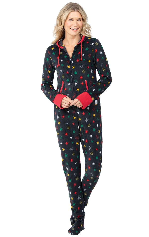 Model wearing Hoodie-Footie - Black Fleece with Stars for Women image number 0