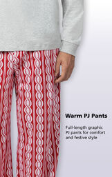 Red and White Peppermint Twist PJ for Men have Full-length graphic PJ pants for comfort and festive style image number 3