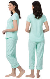 Model wearing Mint and Gray Polka Dot Short Sleeve Capri PJ for Women, facing away from the camera and then to the side image number 1