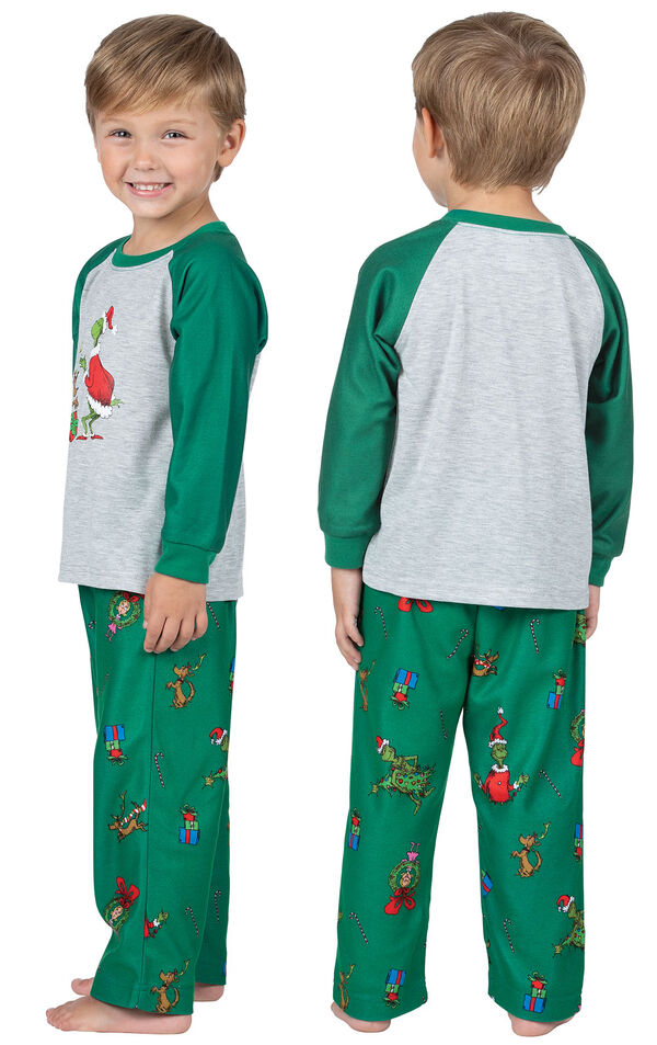Toddler wearing Green and Gray Dr. Seuss' The Grinch Pajamas, facing away from the camera and then facing to the side image number 1