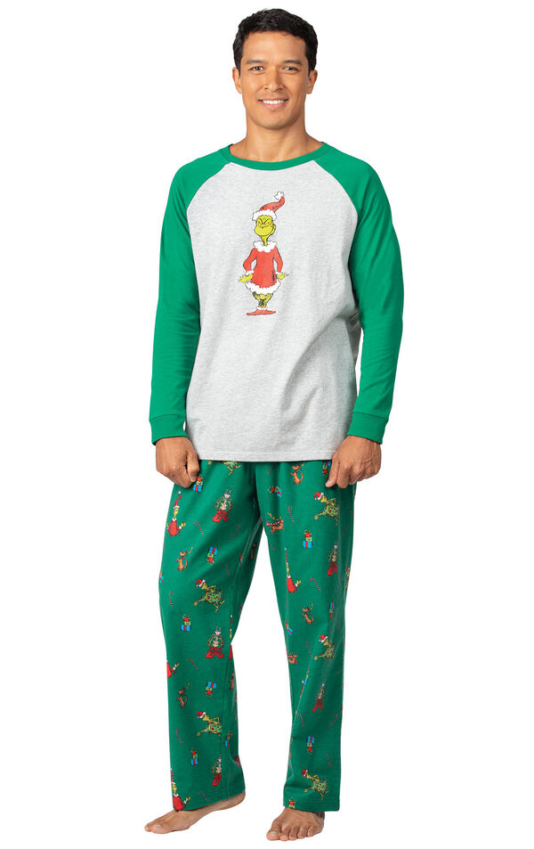 Model wearing Green and Gray Grinch PJ for Men image number 0