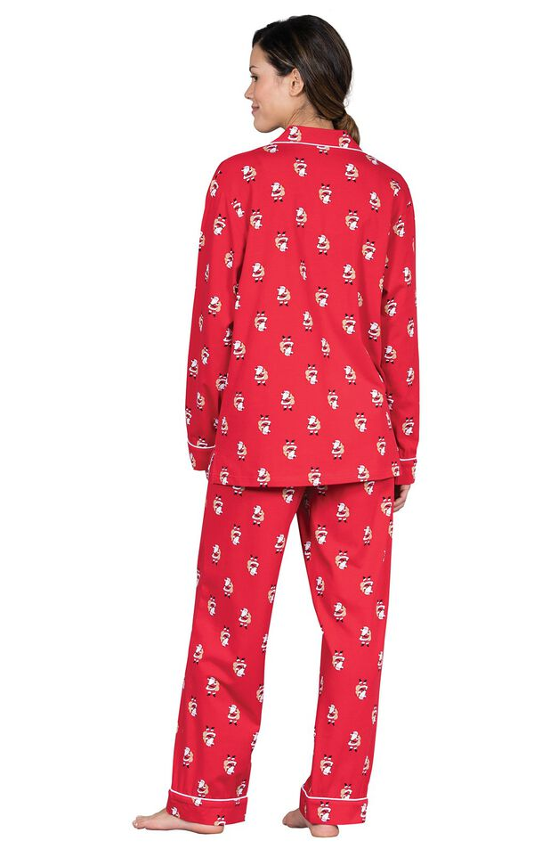 Model wearing Red Santa Print Button-Front PJ for Women, facing away from the camera image number 1