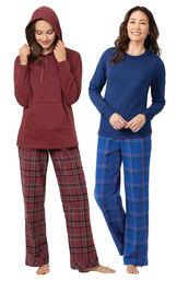 Burgundy Plaid Hooded PJs and Indigo Plaid Jersey-Top PJs image number 0