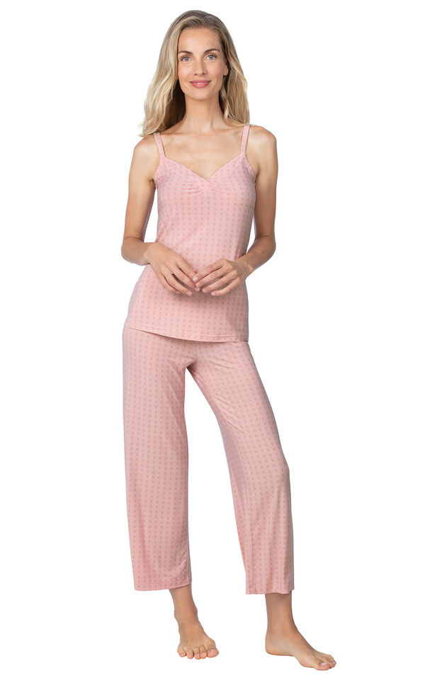 Model wearing Pink Stretch Knit Geo Print Cami Crop Pant PJ for Women image number 0