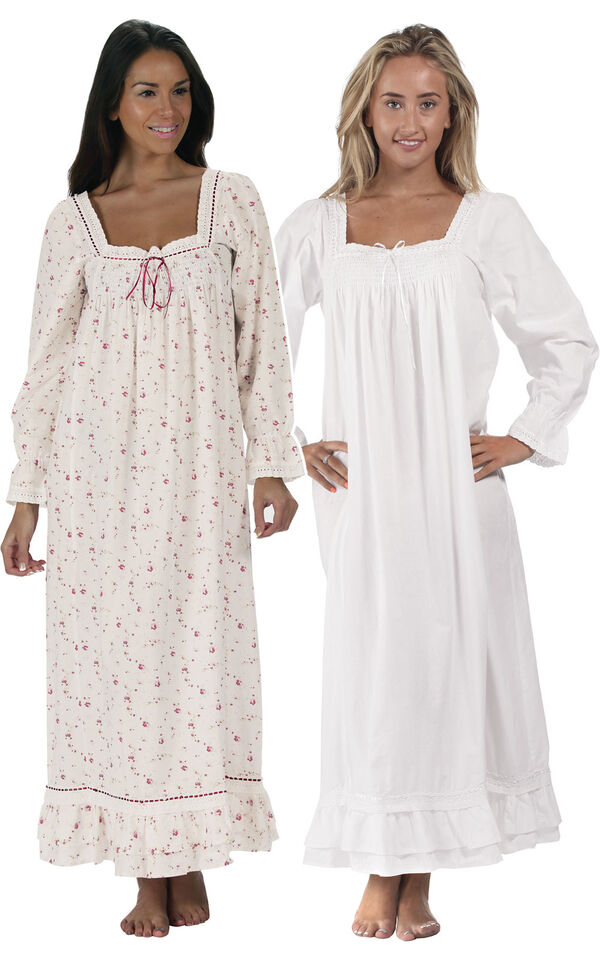 Models wearing Martha Nightgown - Vintage Rose and Martha Nightgown - White image number 0