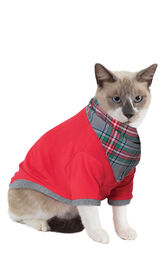 Model wearing Gray Plaid PJ for Cats