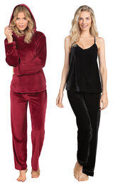 Models wearing Tempting Touch PJs - Garnet and Velour Cami Pajamas - Black. image number 0