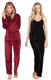 Models wearing Tempting Touch PJs - Garnet and Velour Cami Pajamas - Black.