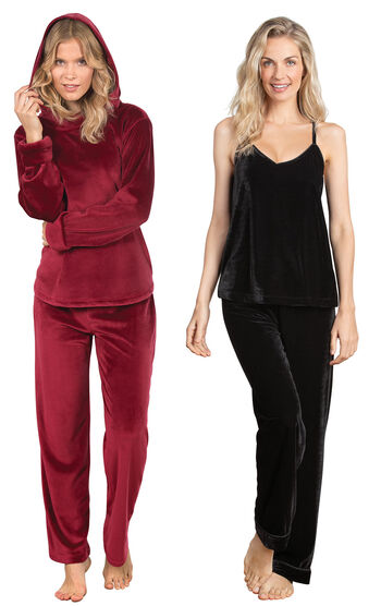 Garnet Tempting Touch PJs & Black Velour Cami PJs