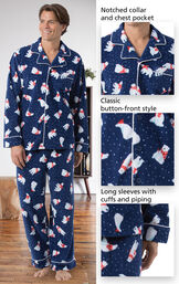 Close-ups of the features of Polar Bear Fleece Men's Pajamas which include a notched collar and chest pocket, classic button-front style and long sleeves with cuffs and piping image number 3