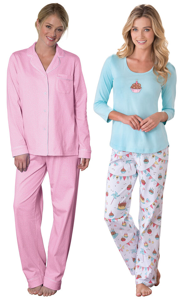 Models wearing Classic Polka-Dot Boyfriend Pajamas - Pink and Happy Birthday Pajamas. image number 0