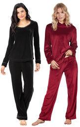 Models wearing Velour Long-Sleeve Pajamas - Black and Tempting Touch PJs - Garnet.