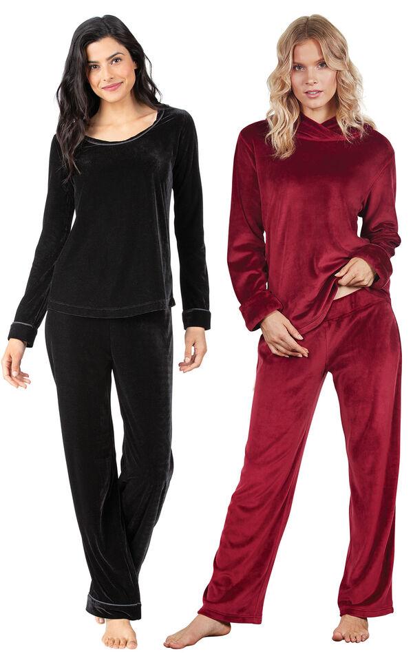 Models wearing Velour Long-Sleeve Pajamas - Black and Tempting Touch PJs - Garnet. image number 0