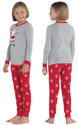 Model wearing Red and Gray Santa Print PJ for Girls, facing away from the camera and then facing to the side image number 1