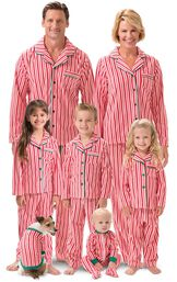 Models wearing Red and White Candy Cane Stripe Fleece Matching Family Pajamas image number 0