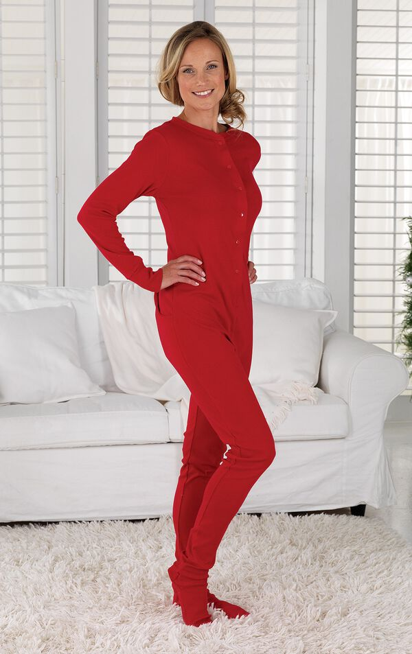 Model wearing Red Dropseat Women's Pajamas by couch image number 2