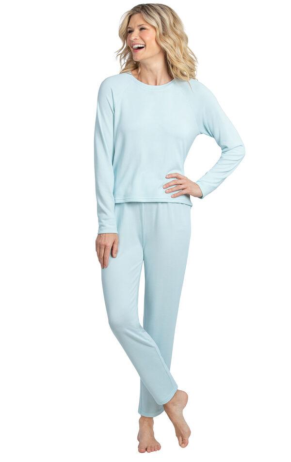 Model wearing Light Blue Scoop Neck Pajama Set for Women image number 0