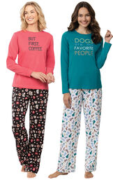 Models wearing Dogs Are My Favorite Pajamas and Coffee Lover Pajamas image number 0