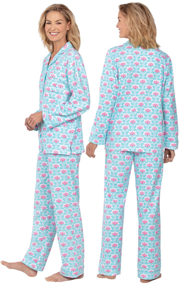 Model wearing Aqua and Pink Floral Button-Front PJ for Women, facing away from the camera and then to the side image number 1