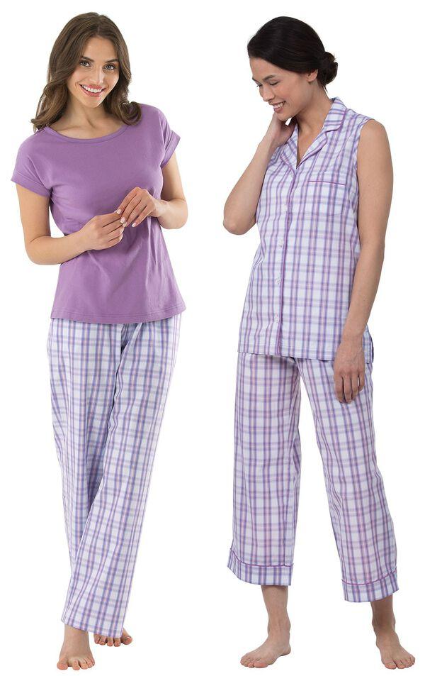 Models wearing Perfectly Plaid Sleeveless Capri Pajamas and Perfectly Plaid Pajamas. image number 0