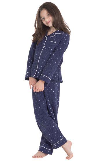 Classic Polka-Dot Girls Pajamas - Navy