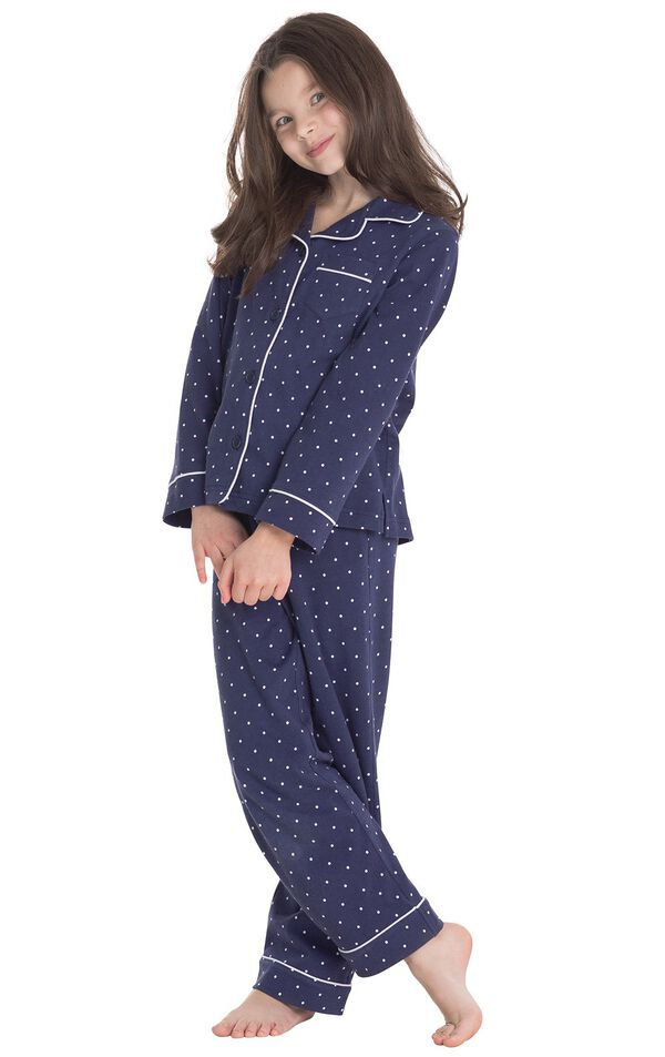 Model wearing Navy Blue and White Polka Dot Button-Front PJ for Kids image number 0