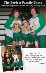 Photos of customers and their pets wearing matching green and grey grinch pajamas with the following copy: The Perfect Family Photo - Create lasting memories and amazing holiday cards. image number 1