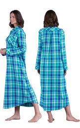 Model wearing Green and Blue Bright Plaid Gown for Women, facing away from the camera and then to the side image number 1