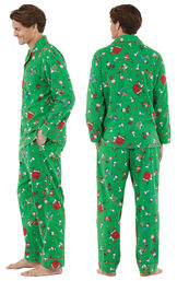 Model wearing Green Charlie Brown Christmas PJ for Men, facing away from the camera and then to the side image number 1