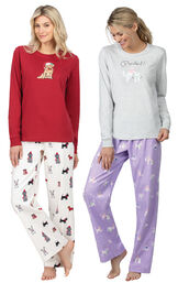 Models wearing Christmas Dog Flannel Pajamas - Red and Purrfect Flannel Pajamas - Purple.
