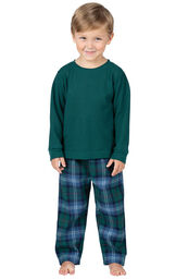 Model wearing Green and Blue Plaid Thermal-Top PJ for Toddlers