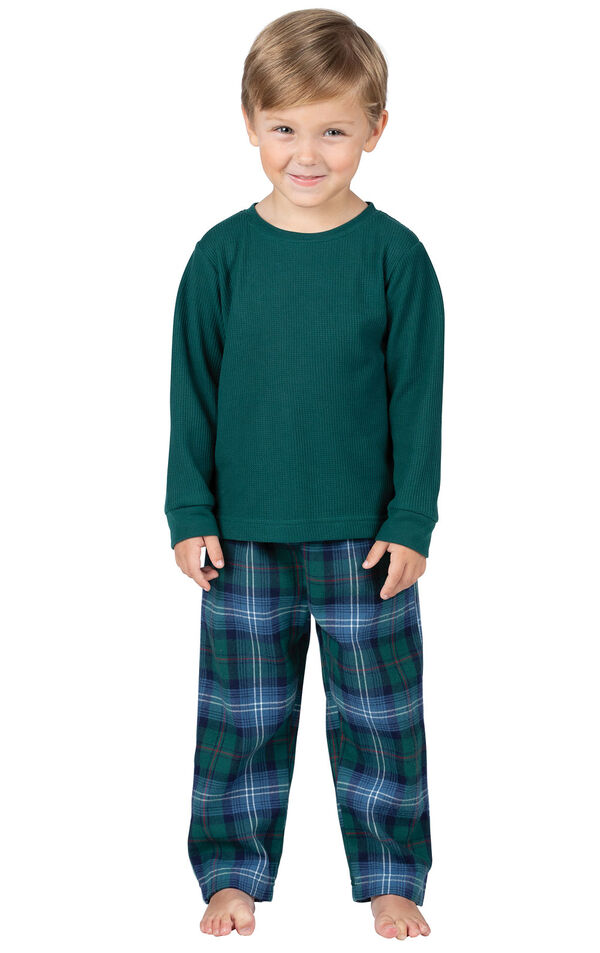 Model wearing Green and Blue Plaid Thermal-Top PJ for Toddlers image number 0