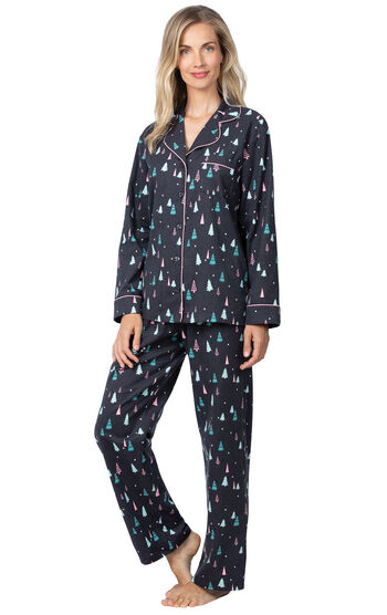 Addison Meadow|PajamaGram Flannel Boyfriend PJs - Bright Trees