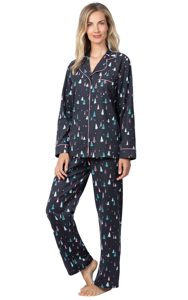 Model wearing Black with Bright Tree Print Button-Front PJ for Women  image number 0