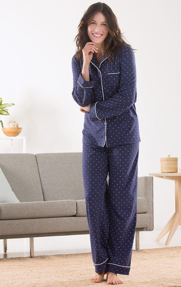 Classic Polka-Dot Women's Pajamas - Navy image number 2