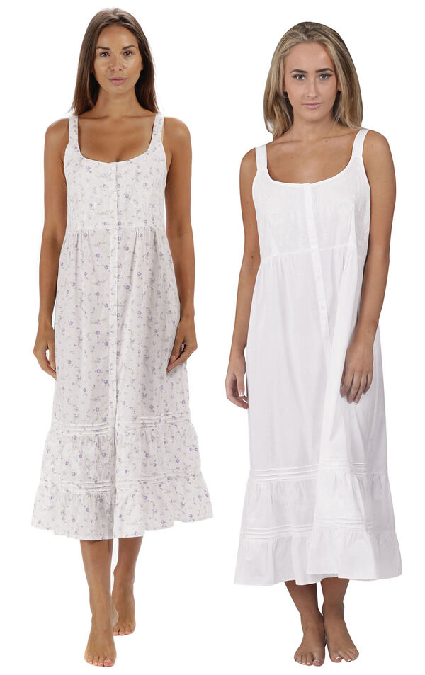 Models wearing Ruby Nightgown - Lilac Rose and Ruby Nightgown - White image number 0