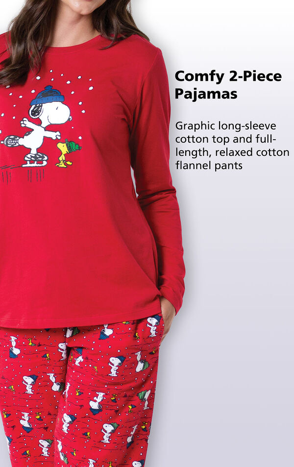 Graphic long-sleeve top and full-length, relaxed cotton flannel pants image number 3
