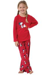 Model wearing Red Snoopy and Woodstock PJ for Girls