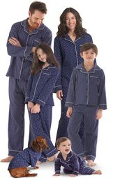 Models wearing Navy Blue and White Dots and Stripes Matching Family Pajamas image number 0