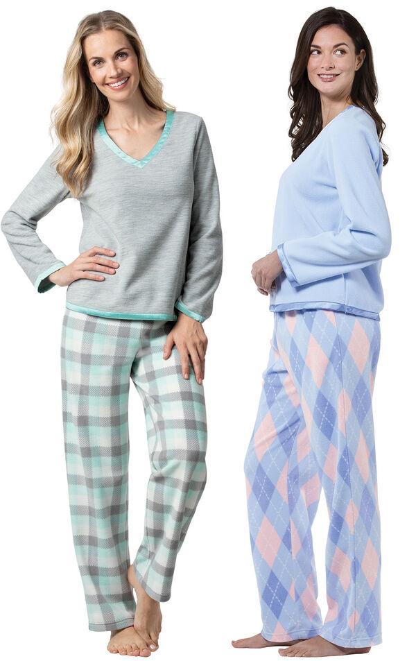 Models wearing Snuggle Fleece Plaid Pajamas - Aqua and Snuggle Fleece Argyle Pajamas. image number 0