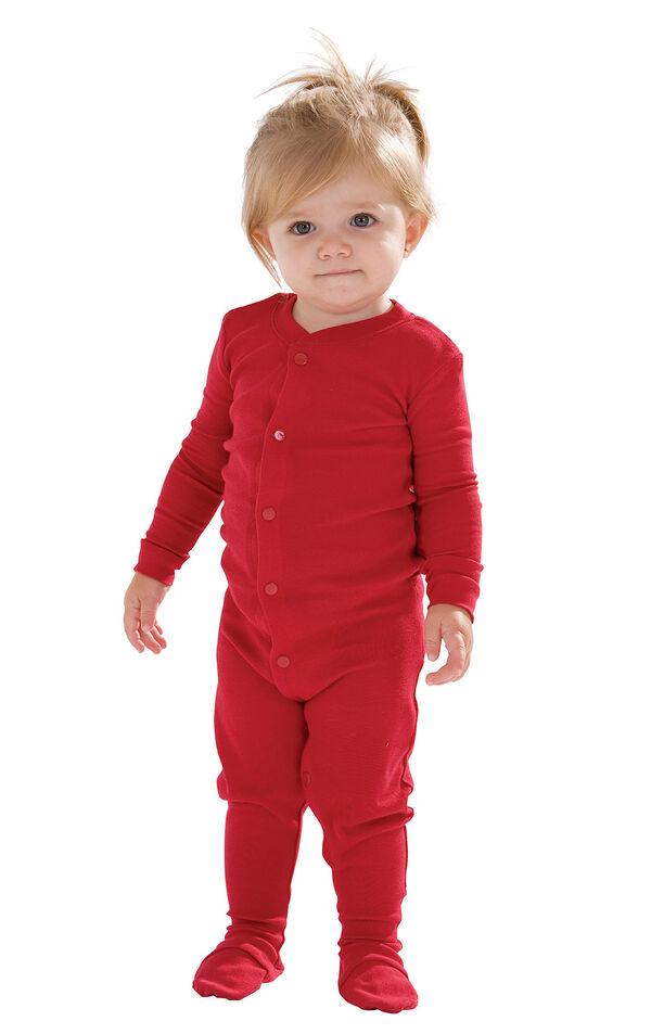 Model wearing Red Dropseat Onesie PJ for Infants image number 0