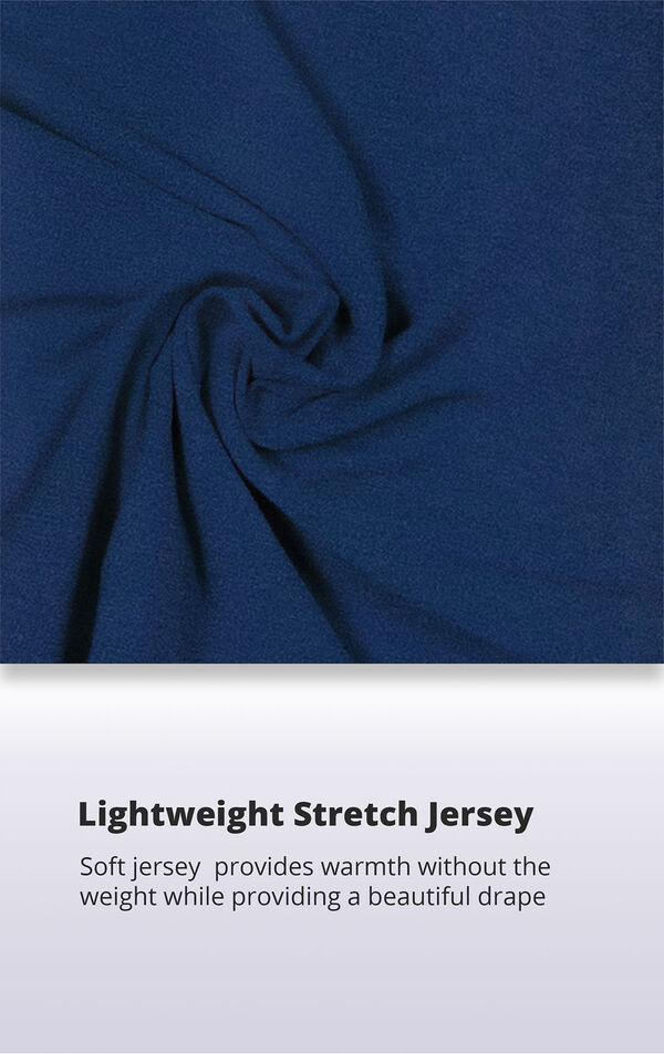 Navy blue lightweight stretch jersey with the following copy: soft jersey provides warmth without the weight while providing a beautiful drape image number 5