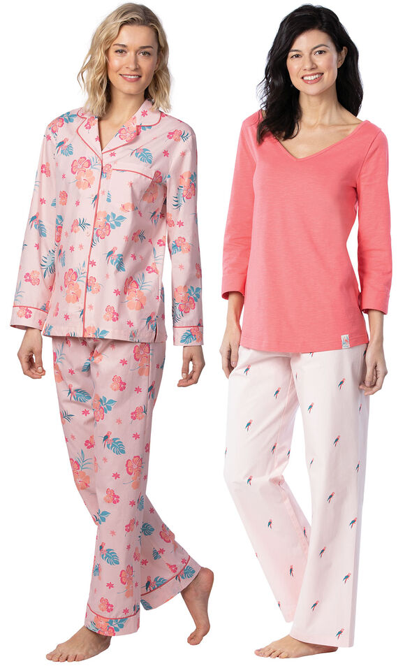 Models wearing Margaritaville Hibiscus Boyfriend Pajamas - Pink and Margaritaville Tropical Dreams Pajamas - Pink. image number 0