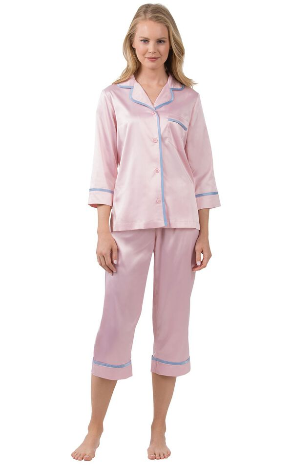 Model wearing Light Pink Satin Button-Front Capri PJ with Blue Trim for Women image number 0