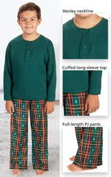 Close-ups of Christmas Tree Plaid Boys Pajamas features - Henley neckline, cuffed long-sleeve top and full-length PJ pants image number 3